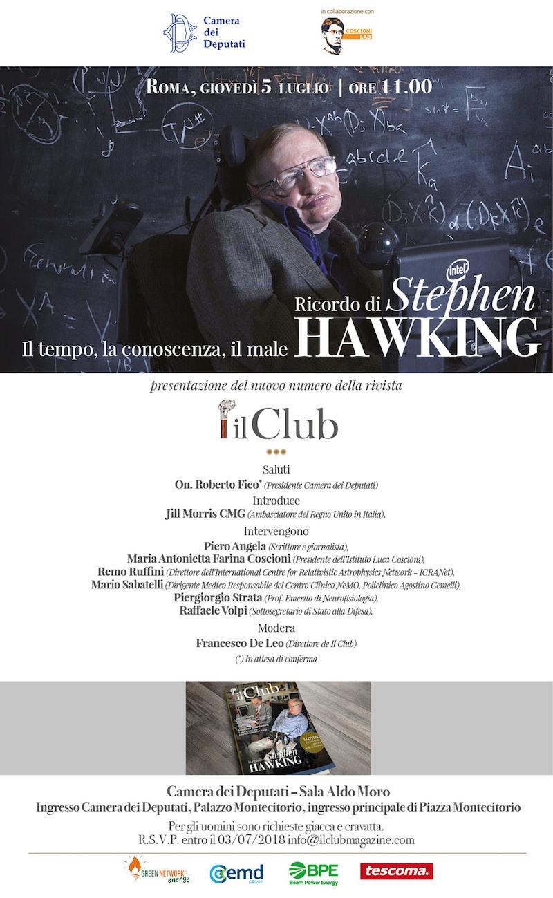 5 luglio 2018 - ore 11 - Ricordo di Stephen Hawking